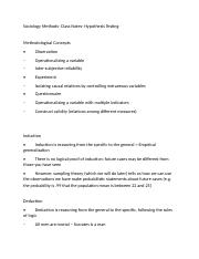 Sociology Methods- Class Notes- Hypothesis Testing