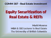 Lec 15 - Securitization of RE and REITs