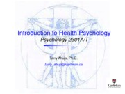 Lecture 1 - Health Psychology