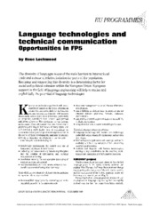 Language technologies and technical communication opportunities in FP5