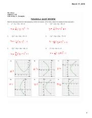 A2AB 10.4 Examples - Parabola Quiz Review Answers