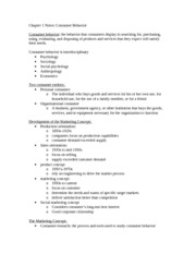 Chapter 1 Notes- Consumer behavior