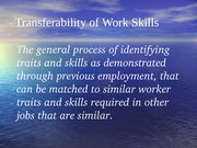 Transferability of Work Skills