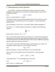 2. Homogeneous Linear Systems