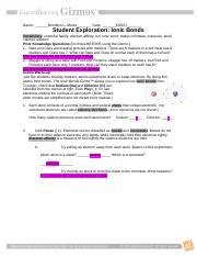 IonicBondsSE - Name Date Student Exploration Ionic Bonds Vocabulary ...