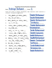 Printables Classifying Chemical Reactions Worksheet jpt j p taravella high school course hero 1 pages classifyingchemicalreactions pdf