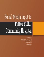 patton fuller community hospital Name: mary perry school: uop instructor: la shanda wilson assignment: week3 date: 3-15-2012 patton-fuller community hospital networking department, i will view and go over to discuss three.