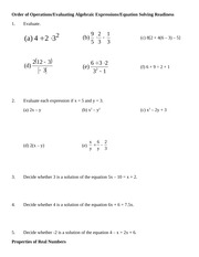 Exponents, Order of Operations& Variable Expressions Class Notes