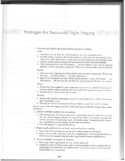 Strategies for Successful Sight Singing