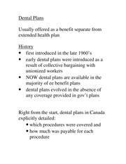 Module 3 Notes- Dental Plan