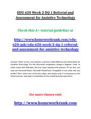 EDU 620 Week 2 DQ 1 Referral and Assessment for Assistive Technology