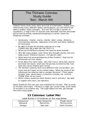 The Thirteen Colonies Study Guide
