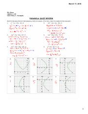 A2AB 10.4 Examples - Parabola Quiz Review Solutions