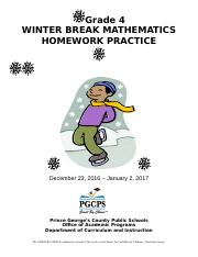 Grade 4 Math Winter Break 2016-2017 aw klw