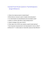 Important Points Review Questions therap
