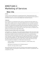 KMGT 643 Marketing of Services - Week 4 DQ