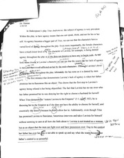 ENG 207 TItus Andronicus Essay First Draft with Outline Notes