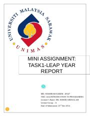 MINI ASSIGNMENT REPORT TASK 01_LEAP YEAR.doc