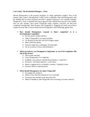 The Residential Manager Notes.doc