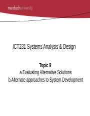 Ict231 Systems Analysis Design Alternative Solutions Evaluate And Rank Vendor Course Hero