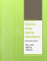 Health Care Disparities Among American Indians