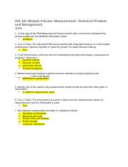 ISA 101 Module 9 Exam Measurement Technical Product and Management.docx