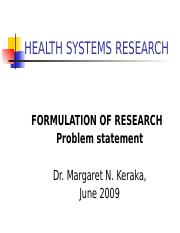 Lesson 4 Formulation of research problem 2009