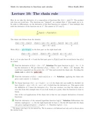 Math1a Spring 2014 Lecture 10 Chain Rule