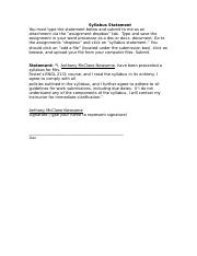 Syllabus Agreement