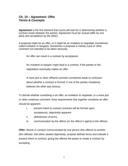 Agreement Offer Terms