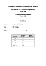 KING FAHD UNIVERSITY CHEMICAL ENGINEERING COURSE NOTES (Fluid Mechanics)-che204-052-final