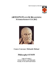 Course Outline ARTS2374 Ways of Reasoning