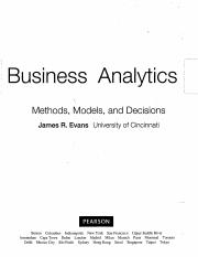 Business Analytics by James Evans TOC