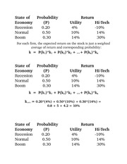 State of  Probability  Return