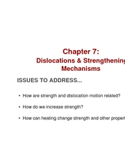 Chapter 7- Dislocations and strengthening mechanisms