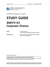 BMCF5103 Corporate Finance Full Version Study Guide