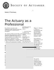 Actuary as a Professional.rtf