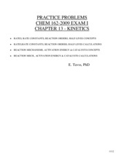 Gen Chem 2 Chapter 16 (Kinetics)Tavss Review Questions