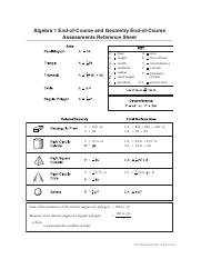 Algebra and Geometry EOC Reference Sheet