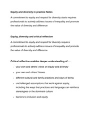 Equity and diversity in practice Notes