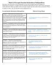 Declaration of Independence_Flora.pdf - Matrix of Excerpts ...