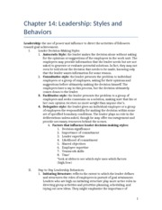 Chapter 14 outline- Leadership- Styles and Behaviors