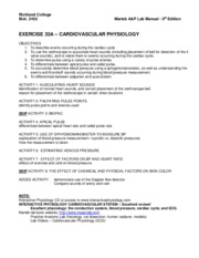Exercise 33A - Cardiovascular Physiology