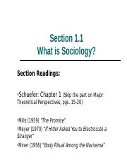 1.1 What is Sociology