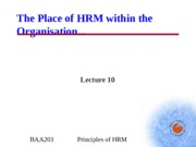 BAA203 - Lecture 10 - Place of HRM within the Org.ppt