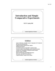 Introduction-Simple Comparative Experiments