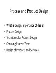 Week 4 Process and Product Design
