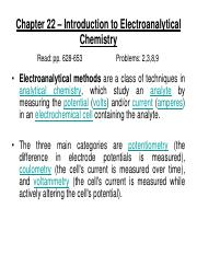 Chapter 22 – Introduction to Electroanalytical Chemistry