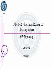 Lecture 3 - HR Planning