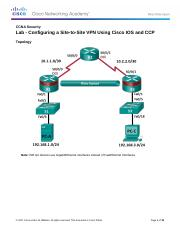 8.7.1.1 Lab - Configuring a Site-to-Site VPN Using Cisco IOS and CCP.docx